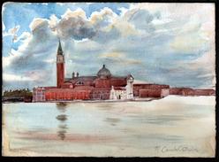 AQUARELLE 390 X 280 Mm, ARTISTE: MATHILDE CAUDEL DIDIER ( BENEZIT ), ITALIE, VENISE, 1909 - Aquarelles
