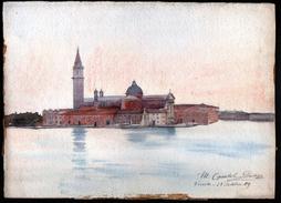 AQUARELLE 380 X 280 Mm, ARTISTE: MATHILDE CAUDEL DIDIER ( BENEZIT ), ITALIE, VENISE, 1909 - Acquarelli