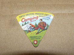 Cheese Queso Kase Label Etikette Etiqueta ~1920-1950 Swiss Gruyere Process Cheese Camping Langnau Suisse - Quesos