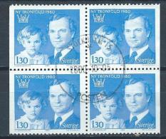 Suède 1980 1083b Oblitérés En Bloc De 4 Roi Et Princesse Héritière - Suède