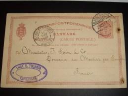 DANEMARK-1901  THOR.E.TULINIUS-   KJOBENHAVN-  2 Trous - Ganzsachen