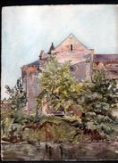 AQUARELLE 380 X 290 Mm, ARTISTE: MATHILDE CAUDEL DIDIER ( BENEZIT ), CORREZE, MALEMORT, L'EGLISE, 1918 - Aquarelles