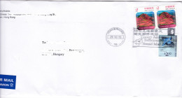 673 Hong Kong China Letter To Hungary Port Island Barn Swallow Bird - Cartas