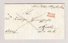Österreich WIEN FRANCO Langstempel Rot Vorphila Brief 1835 Nach Raabs - Österreich