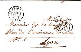LETTRE 1853 ARINTHOD JURA POUR LYONTAXE TAMPON 25 / 7891 - 1849-1876: Periodo Clásico