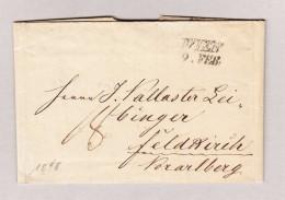 Österreich WIEN 9 FEB 2-Zeil-Stempel Vorphilabrief 1848 Nach Feldkirch - Österreich