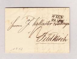 Österreich WIEN 29 APR 2-Zeil-Stempel Vorphilabrief 1843 Nach Feldkirch Mit Blauem Ankunftsstempel - Österreich