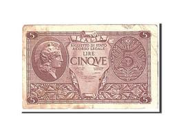 Italie, 5 Lire, 1944, KM:31c, 1944-11-23, TB - [ 1] …-1946 : Regno