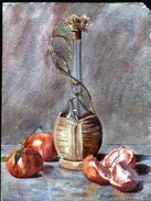 AQUARELLE 385 X 290 Mm, ARTISTE: MATHILDE CAUDEL DIDIER ( BENEZIT ), NATURE MORTE, BOUTEILLE, FRUITS - Aquarelles