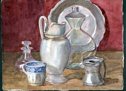 AQUARELLE 385 X 285 Mm, ARTISTE: MATHILDE CAUDEL DIDIER ( BENEZIT ), NATURE MORTE, VASE, CARAFFE, PLAT, TASSE - Watercolours