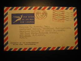 Johannesburg 1967 To New York USA University Of Witwatersrand Postage Paid Meter Mail Air Mail Cover Cancel South Africa - Afrique Du Sud (1961-...)