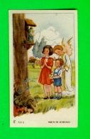 IMAGES RELIGIEUSES - JEUNE ENFANTS PRIANT AVEC UN ANGE - CC No 7414 - - Images Religieuses
