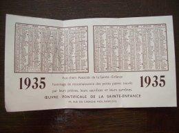 """Calendrier 1935 Religieux """"Oeuvre Pontificale De La Sainte-Enfance"""" - Kalenders"""