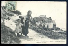 Cpa Du 62 Environs De Boulogne Sur Mer -  Equihen -- Enfants De Pêcheurs Au Bord De La Falaise   JIP24ter - Boulogne Sur Mer