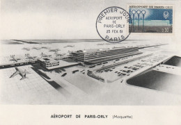 FRANCE  CARTE MAXIMUM  N° 1283  ORLY - 1950-59