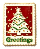 Pin´s USA - Timbre Poste GREETINGS - Sapin De NOËL - Winco   - F788 - Mail Services