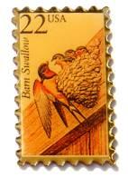 Pin´s USA - Timbre Poste BARN SWALLOW - Hirondelle Rustique - Oiseau Et Ses Petis - F789 - Mail Services