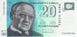 FINLAND 20 MARKKAA 1993 P-123 AU/UNC SIGN. VANHALA & HEINONEN [ FIN123a9 ] - Finland