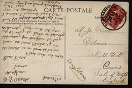 France Angleterre Sur CP De St Malo CAD Anglais Southampton France MB Sur Timbre Français YT 138 Semeuse Oblit Bateau - Marcophilie (Lettres)