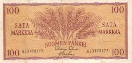 FINLAND 100 MARKKAA 1957 P-97a AU/UNC SIGN. ROSSI & ENGBERG [ FIN097a20 ] - Finland