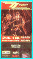 ZZ TOP ....  2002. Croatian Concert Ticket ** Billet Biglietto Boleto - Concert Tickets