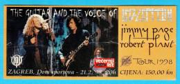 JIMMY PAGE & ROBERT PLANT ... LED ZEPPELIN - 1998. Croatian Concert Ticket Billet Biglietto Boleto - Concert Tickets