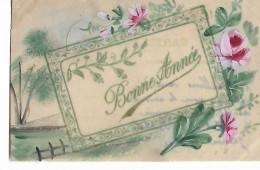 """Celluloid    -  """"  Bonne  Année """"   Arbre  Et  Fleurs  Roses - Postcards"""