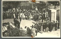 CP Photo Commémorative, Drapeaux Et Discours, Pas De Lieu Identifié - Photographie