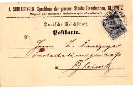 CP De Gleiwitz (03.02.1902) Pour Gleiwitz_Privät - Covers & Documents