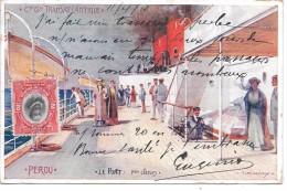 """PAQUEBOT """"PEROU"""" - Compagnie Générale Transatlantique - Le Pont 1eres Classes - Piroscafi"""