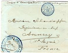 Lettre En Franchise Du Corps D'Occup.  Cachet Mil;  CORPS EXPEDITIONNAIRE  MADAGASCAR  Cad HANARANSOA 9 OCT 1902 Bleu - Covers & Documents