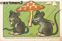 ILLUSTRATEUR BENJAMIN RABIER SOURIS RAT CHAMPIGNONS PUBLICITE ELIXIR VERMIFUGE DOCTEUR GUILLET 11 X 7 CM - Rabier, B.
