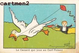 ILLUSTRATEUR BENJAMIN RABIER CANARD JOUANT AU CERF-VOLANT PUBLICITE ELIXIR VERMIFUGE DOCTEUR GUILLET 11 X 7 CM - Rabier, B.