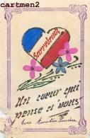 SARREBURG SARREBOURG CARTE PATRIOTIQUE FAITE AU FRONT PAR UN POILU CARTE A PAILLETTE PATRIOTISME GUERRE PAILLETTES - Patrióticos