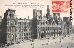 """PARIS VIGNETTE """" IL FAIT BEAU """" PAR P. RIQUET HOTEL DE VILLE CACHET MECANIQUE RUE DANTON - Marcophilie (Lettres)"""