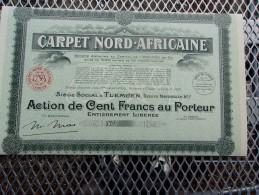 CARPET NORD-AFRICAINE (100 Francs,capital 1 Million) ALGERIE - Shareholdings