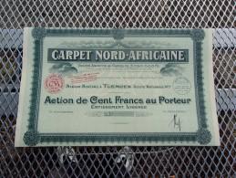 CARPET NORD-AFRICAINE (100 Francs,capital 3,75 Millions) ALGERIE - Shareholdings