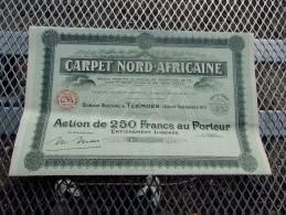 CARPET NORD-AFRICAINE (250 Francs,capital 39 Millions) ALGERIE - Shareholdings
