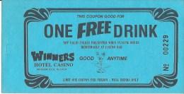 Winners Casino Winnemucca, NV Free Drink Coupon - Advertising