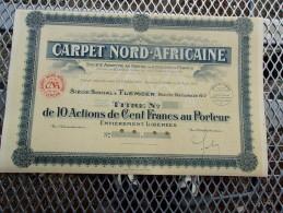CARPET NORD-AFRICAINE (titre De 10 Actions De 100 Francs,capital 5 Millions) ALGERIE - Shareholdings