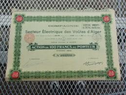 SECTEUR ELECTRIQUE DES VOUTES D´ALGER (capital 1,5 Millions) ALGERIE - Shareholdings