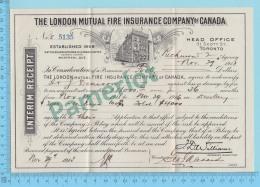 "Richmond Quebec Canada - Reçu Interimaire "" London Mutual Insurance Co."" Richmond Agency - 2 Scans - Canada"