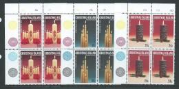 Christmas Island 1983 Christmas Candles Set 3 MNH As Marginal Plate Number Blocks Of 4 - Christmas Island