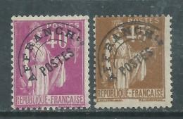 France  Préoblitéré N° 70 / 71 O  Type Paix : 40 C. Lilas Et 45 C.bistre, Les 2 Valeurs Sans Gomme Sinon TB - Precancels