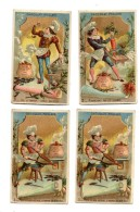 Chocolat Poulain. 4 Chromos Dorées Et Gaufrées.Potage.Cuisine. Menu Au Verso. - Poulain