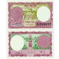 NEPAL ONE RUPEE BANKNOTE KING MAHENDRA 1968 PICK NO.12 AUNC - Nepal
