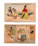 Chocolat Louit. 2 Chromos. La Malice. L'indiscretion. - Louit