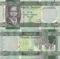 South Sudan P-1, 1 Pound, Dr. Mablor / Giraffe Herd - NEW COUNTRY! - South Sudan
