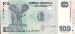 Congo P98, 100 Francs, Elephant / Hydroelectric Dam On Congo River, 2007, UNC - Congo