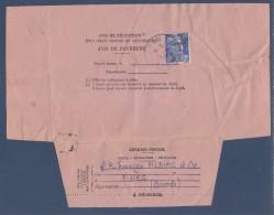 = Avis De Réception Pli Recommandé Départ Ares (33) 4.4.55 Pour Paris 6.4.55 Timbre 886 - Errors & Oddities